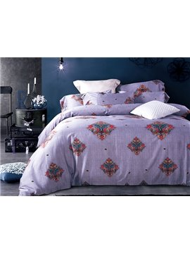 Purple Arabesque 4-Piece Active Print Bedding Sets with Cotton