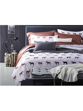 New Arrival Cute Cartoon Horse Cotton 4-Piece Duvet Cover Sets