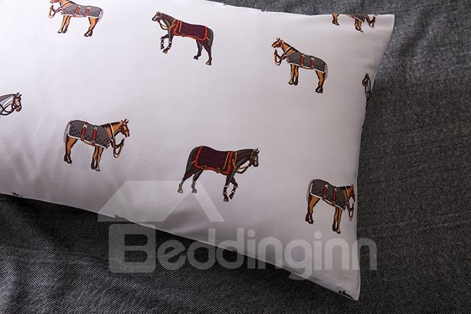 New Arrival Cute Cartoon Horse Cotton 4-Piece Duvet Cover Sets