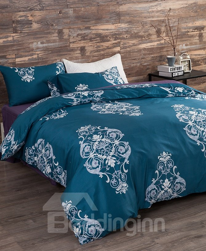 Graceful Damask Blue 4-Piece 100% Cotton Duvet Cover Sets