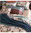 Concise Style Stripe 4-Piece Active Print Cotton Bedding Sets