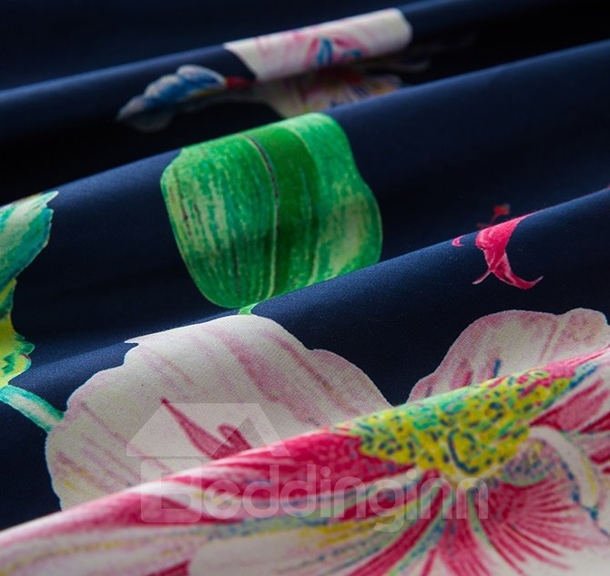Chic Flower Design Blue Skin 4-Piece Duvet Cover Sets