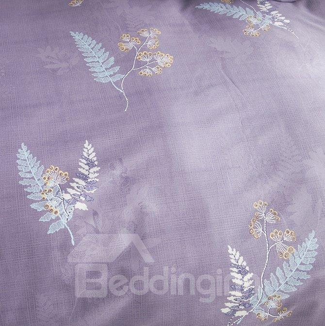 Pure Cotton Pastoral Style Dark Purple 4-Piece Duvet Cover Sets