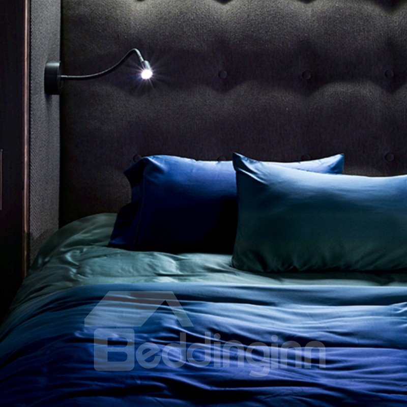 High Class Gradient Effect Blue 4-Piece Cotton Duvet Cover Sets