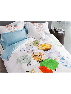 New Arrival Multicolored Umbrellas Print 4-Piece Cotton Duvet Cover Sets