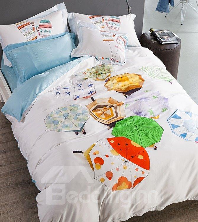 New Arrival Multicolored Umbrellas Print 4-Piece Cotton Duvet Cover Sets