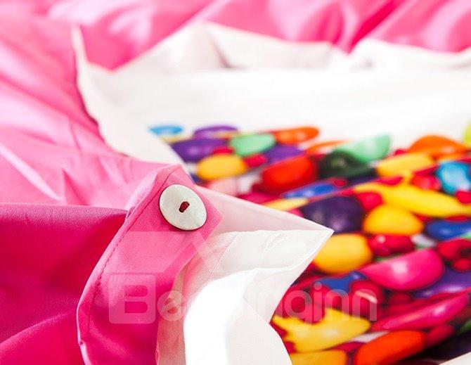 Heart Shape Lollipops Print 4-Piece Cotton Duvet Cover Sets