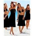 Solid Color Maxiskirt Monokini Boob Tube Top One-piece Swimwear