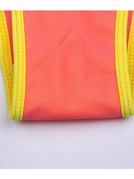 Bright Yellow and Pink Long Sleeve Monokini One-piece Swimwear