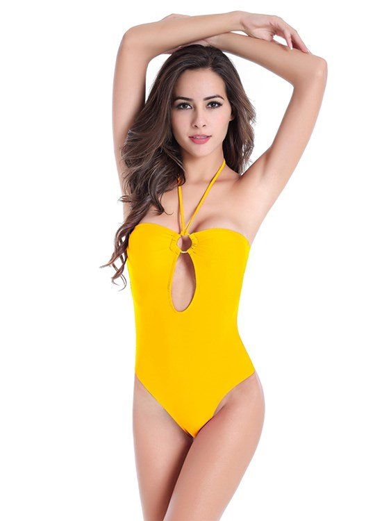 Cut Out Bright Solid Color Hilter Monokini