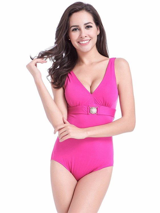 Diamond Ornament V-neck Slim Fit Monokini Polyester One-piece Swimwear