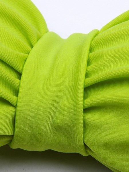Solid Color Cute Dart Bowknot Two-piece Bikini