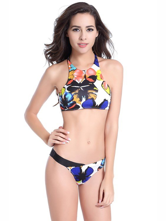 Colorful Hilter Lovely Round Neck Two-piece Bikini