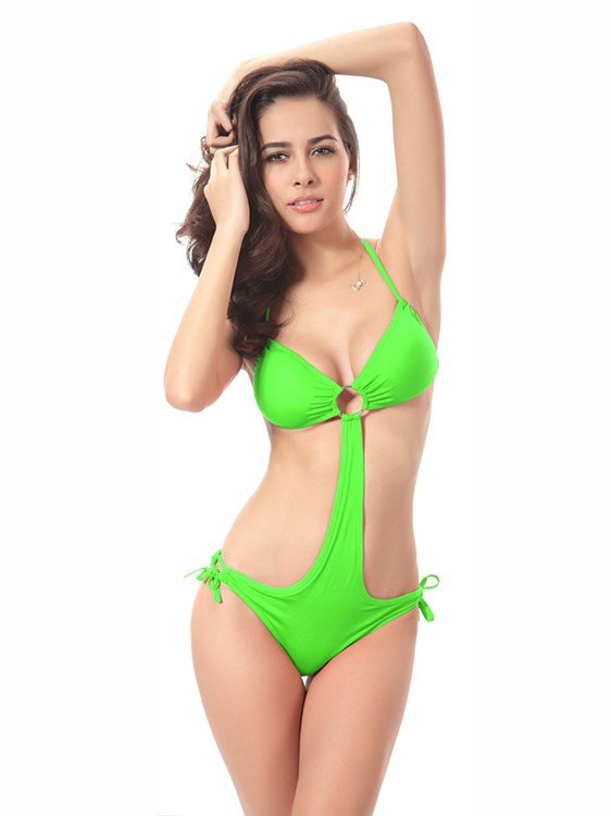 Hook and Link Sexy Solid Color Monokini One-piece Swimwear Set