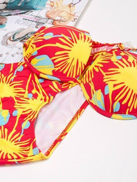 Seductive Colorful Bottom Bra Two-piece Bikini