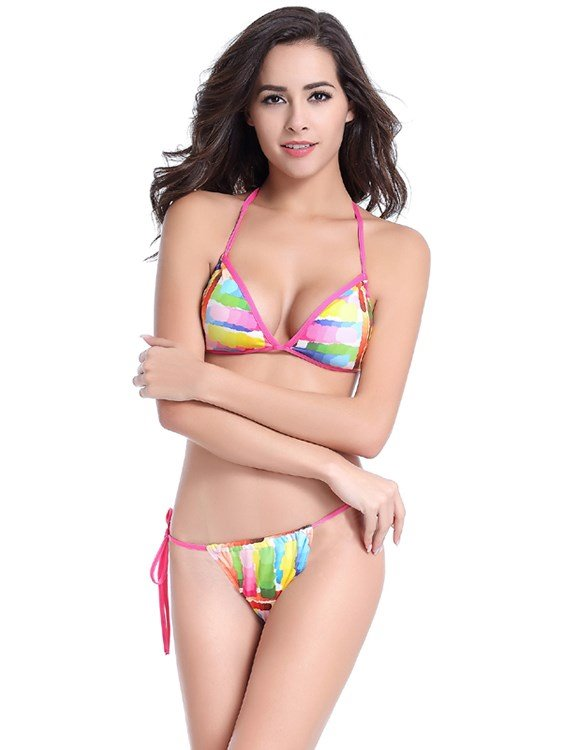Colorful Blocks Simple Triangle Two-piece Bikini