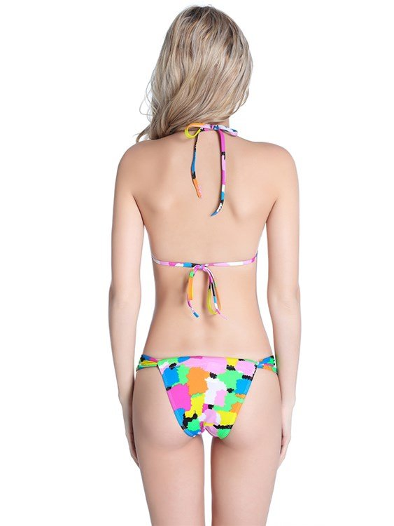 Zebra-stripe and Clolr Blocks Two-piece Halter Bikini