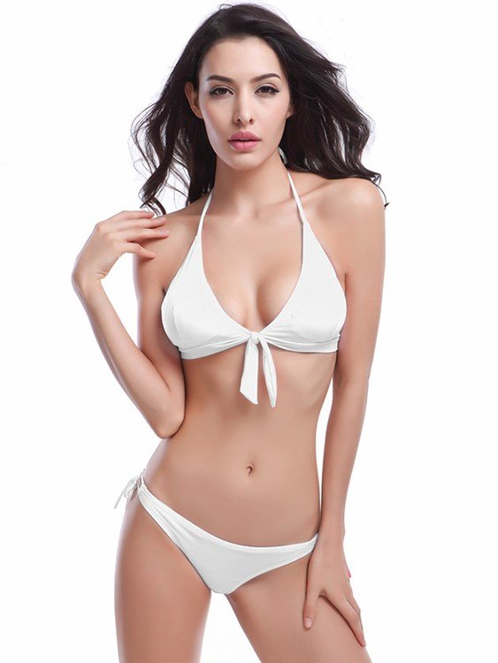 Lace Up V-neckline Simple Solid Color Two-piece Bikini