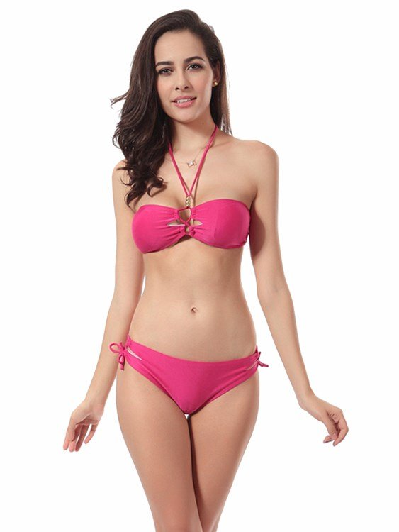 Sexy Solid Color Halter Two-piece Bikini