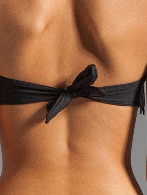 Boob Tube Top Falbala Leather Two-piece Bikini