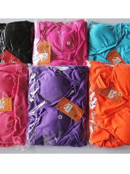 Fashion Solid Color V-neck Simple Monokini