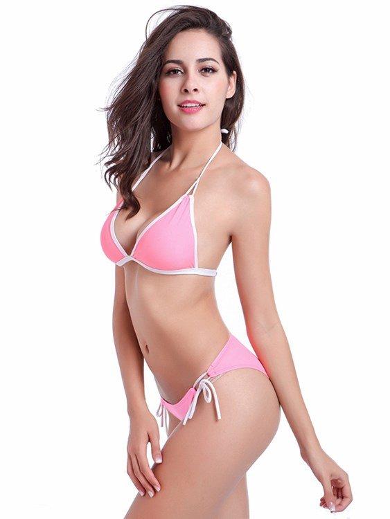 Solid Color Freewire Swimwear Deep V-Neck Hilter Two-piece Bikini