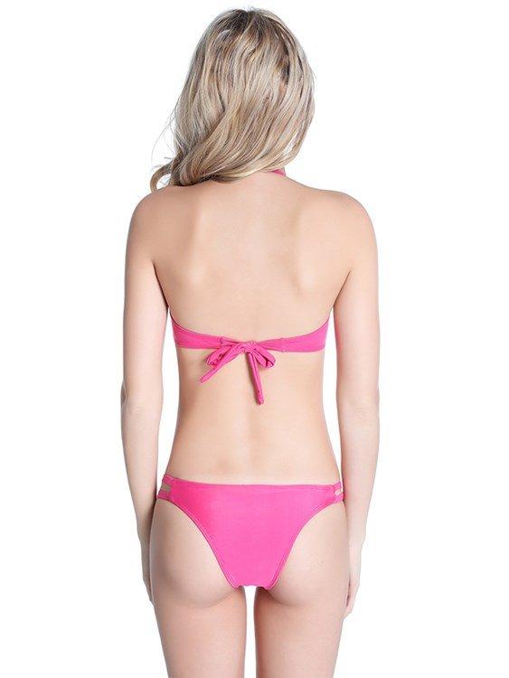 Solid Color Pierced Hilter Simple Two-piece Bikini