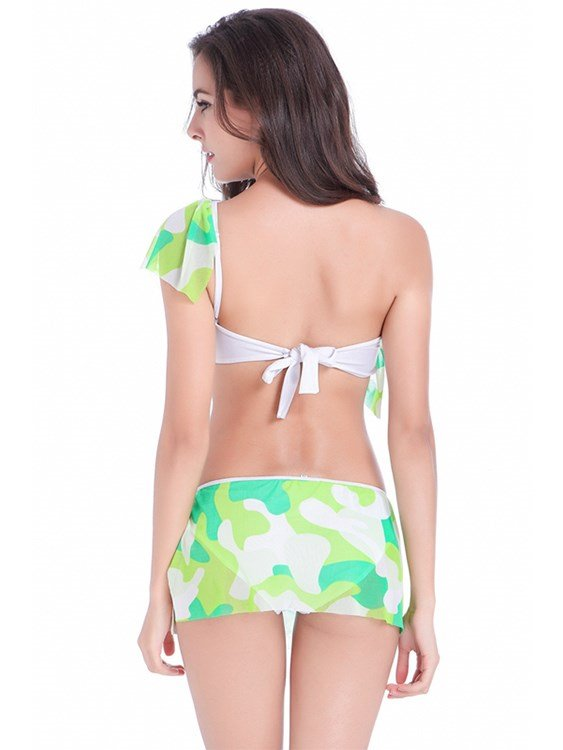 Fresh Style Cute Two-piece Colorful Polyester Bikini