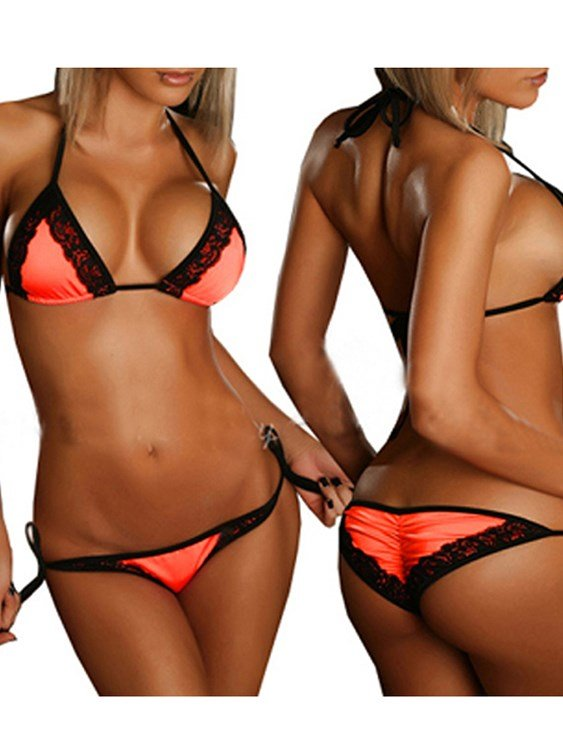 Lace Edge Sexy Back Lined Simple Style Solid Color Bikini