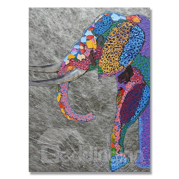 Warm Color Modern Elephant Head Hand Painted Oil Painting