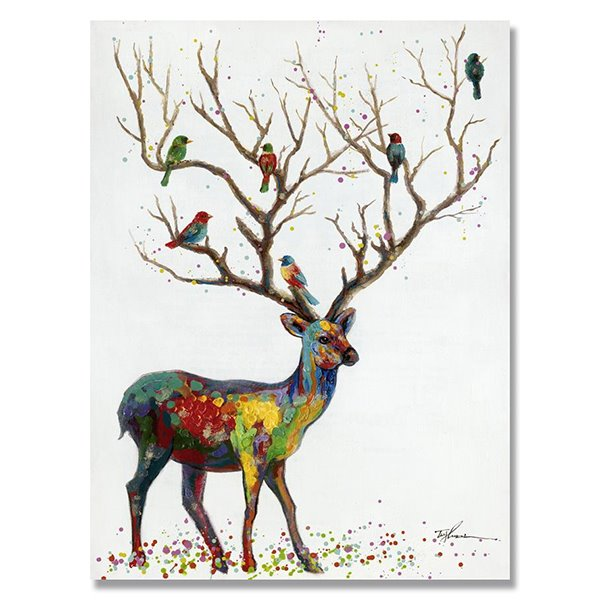 Wall Art Of Deer : New arrival oil painting deer hand painted wall art prints