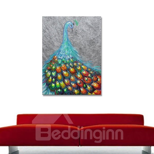 Hand Painted Peacock Oil Painting Wall Art Prints