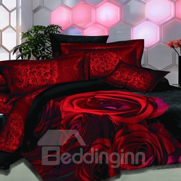 Fantastic Bright Red Rose Printed 3D Fitted Sheet