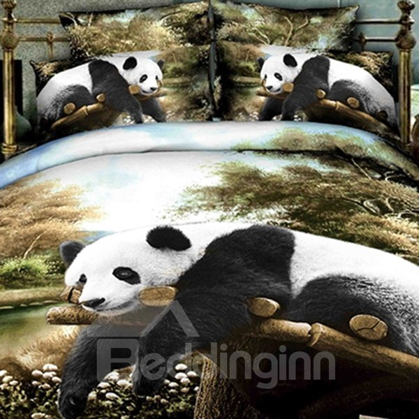 High Class Lifelike Panda Lying on the Trunk Print 3D Fitted Sheet