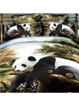 Hot Selling Panda Lying on the Trunk Print Two Pieces Pillow Case