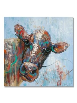 Hot Sale Cool Color Pop Art Cow Hand Painted Oil Painting