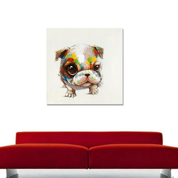 New Arrival Cool Color Big Eyes Dog Oil Painting