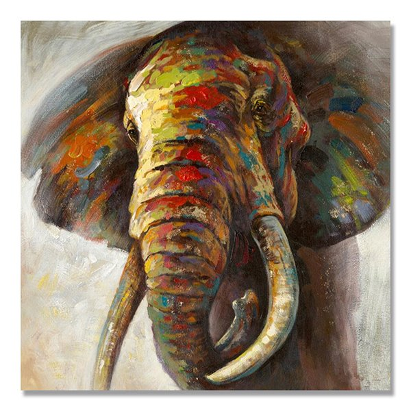 Cool Color Pop Art Elephant Head Hand Painted Oil Painting