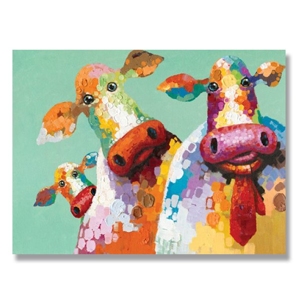 Warm Color Pop Art Three Cow Hand Painted Oil Painting