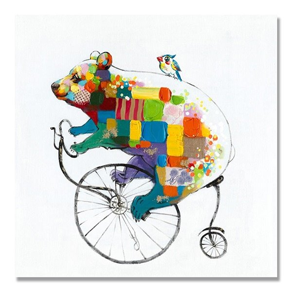 Creative Modern Abstract Bicycle Bear Hand Painted Oil Painting 11982968