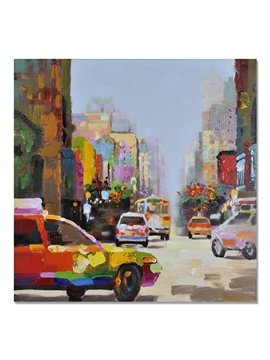 New Arrival European Style Busy City Scenery Oil Painting