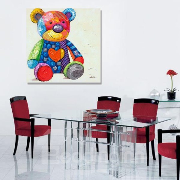 Multicolor Modern Little Bear Oil Painting