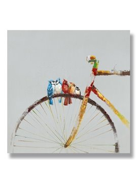 New Arrival Modern Abstract Birds on Bicycle Oil Painting