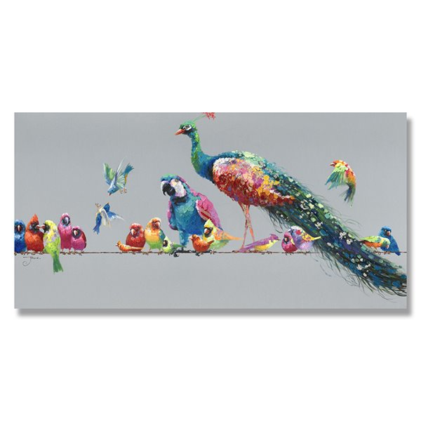Beautiful Pop Art Peacock and Birds Hand Painted Oil Painting