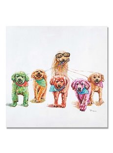 Beautiful Modern Leisurely Dogs Oil Painting