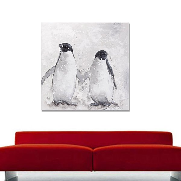 Simple Black Pop Art Animal Penguin Oil Painting