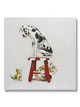 New Arrival Pop Art Interesting Dog on Stool Oil Painting