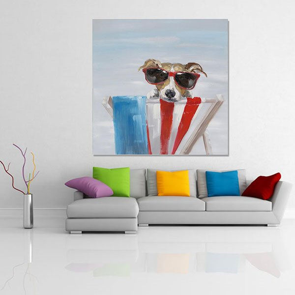 Single Modern Abstract Hand Painted Seaside Dog Wall Art Prints