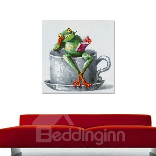 Creative Abstract Reading Frog Hand Painted Oil Painting