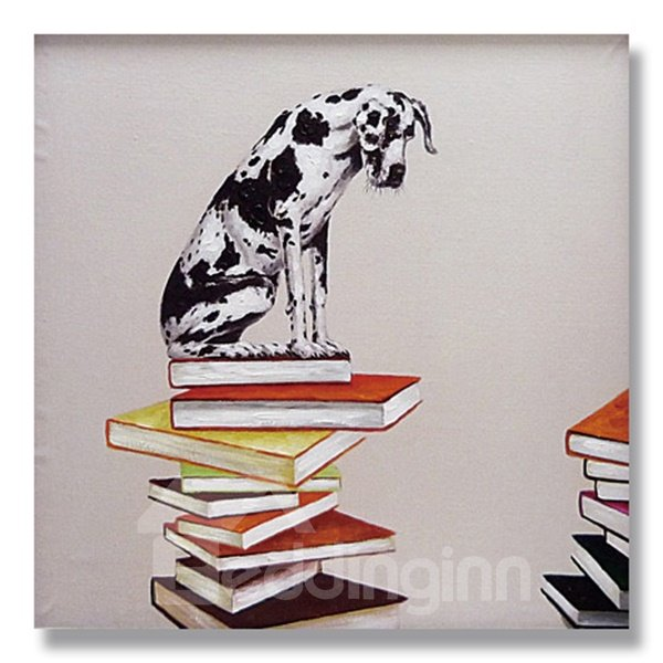 Wonderful Pop Art Dog on Book Ready to Hang Oil Painting